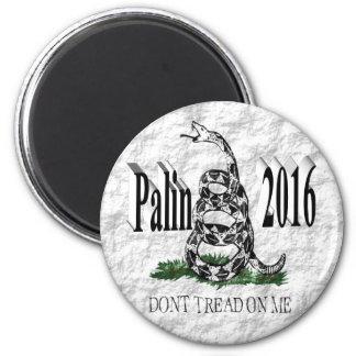 Palin 2016 3D Magnet, Black, White Gadsden, 6 Cm Round Magnet