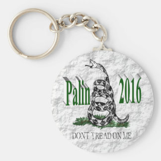 PALIN 2016 Key Chain, Green 3D, White Gadsden Basic Round Button Key Ring