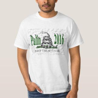 PALIN 2016 Shirt, Green 3D, White Gadsden T-Shirt