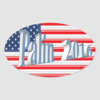 PALIN 2016 Sticker, Powder Blue 3D, Old Glory Oval Sticker