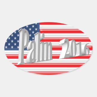 PALIN 2016 Sticker, White 3D, White Oval Sticker