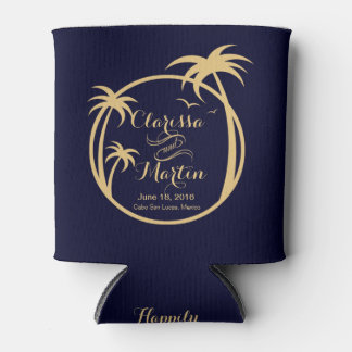 Palm Beach Tropical Logo | navy sand Can Cooler