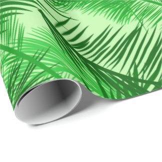 Palm Leaf Print, Emerald and Light Lime Green Wrapping Paper