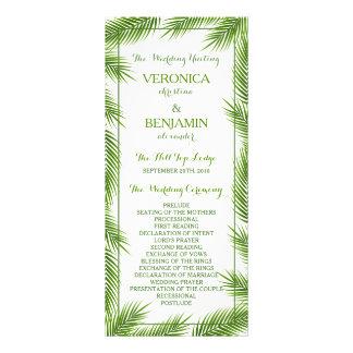 Palm Leaves Tropical Beach Wedding Program Customized Rack Card