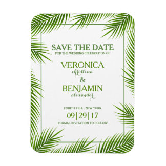 Palm Leaves Tropical Beach Wedding Save The Date Rectangular Photo Magnet