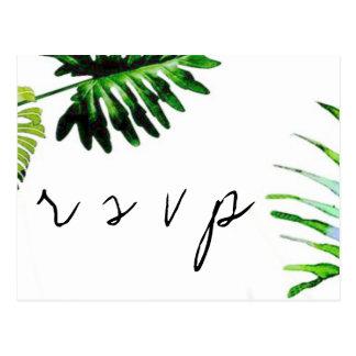 Palm leaves wedding RSVP postcards
