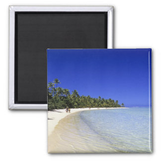 Palm lined beach Cook Islands 8 Magnet