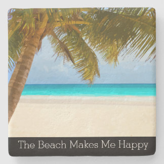 Palm Tree Beach Theme Stone Coaster