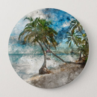 Palm Tree in Ambergris Caye Belize 10 Cm Round Badge