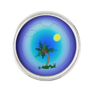 Palm tree in the sea lapel pin