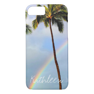 Palm tree rainbow travel photo custom name persona iPhone 8/7 case