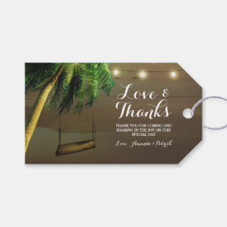 Palm Tree Rustic Lights Beach Wedding Thank You Gift Tags