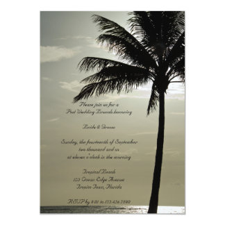 Palm Tree Silhouette Beach Post Wedding Brunch Card