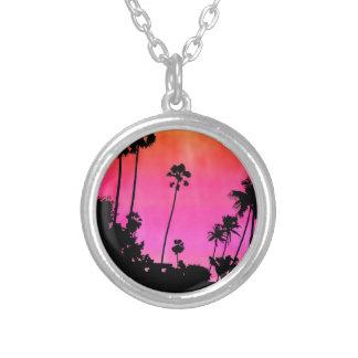 Palm Tree Silhouette Round Pendant Necklace