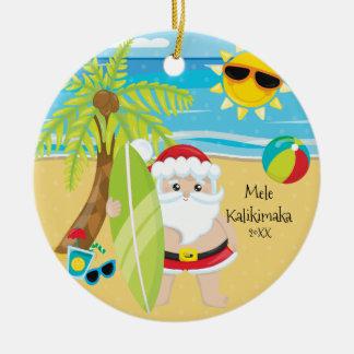 Palm Tree Surfing Santa Hawaiian Christmas Christmas Ornament