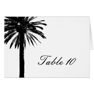 Palm tree table number cards for wedding reception