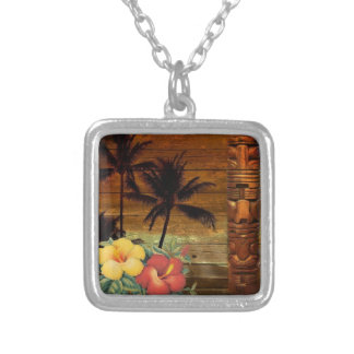 Palm Tree totem tropical Floral hibiscus Hawaiian Silver Plated Necklace
