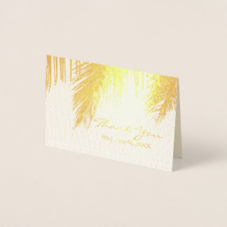 palm tree tropical destination Wedding Thank You Foil Card