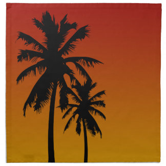 Palm Trees Silhouette In Red Orange Yellow Sunset Napkin