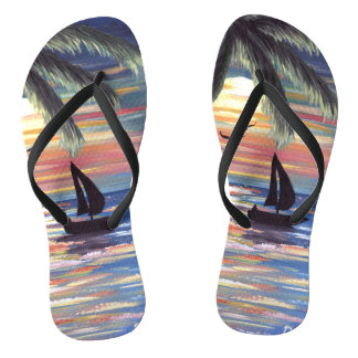 Palm Trees Sunset Ocean Painting Jandals