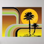 Palm Trees Tropical Retro Beach Sunset Stripes Mod Poster