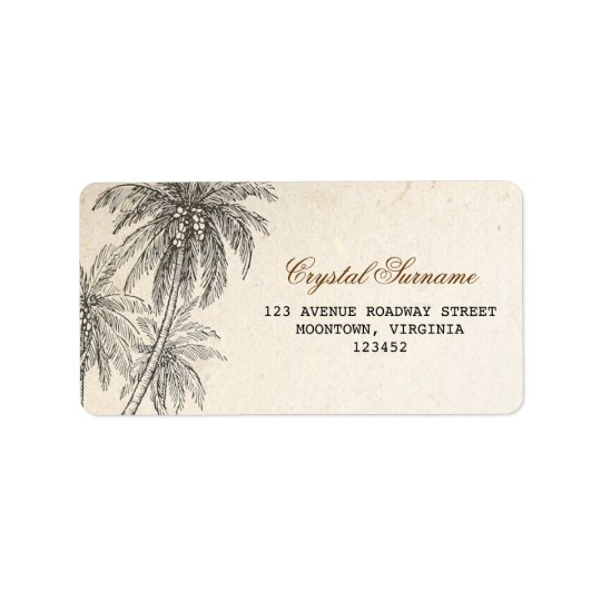 palm trees wedding address labels