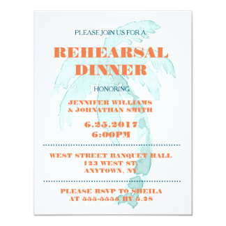 Palm Typography Rehearsal Dinner Invitations