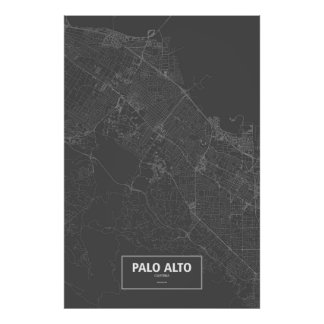 Palo Alto, California (white on black) Poster