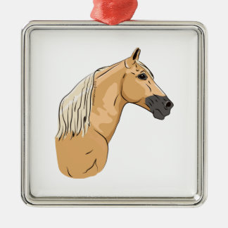 Palomino Tennessee Walking Horse 3 Silver-Colored Square Decoration