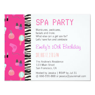 Pampering Spa Party, For Girls 11 Cm X 14 Cm Invitation Card