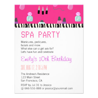 Pampering Spa Party For Girls Custom Invites