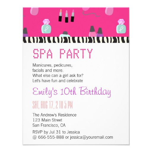 Pampering Spa Party, For Girls Custom Invites