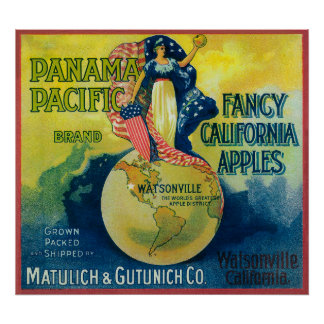 Panama Pacific Apple Crate Label Posters