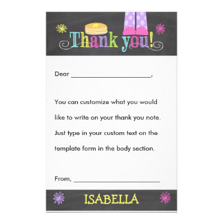 Pancake and Pajama Party Thank you, Custom Fill In Stationery