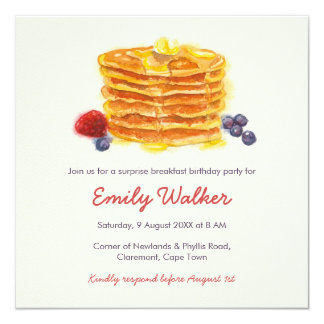 Pancake Breakfast Birthday Party Card