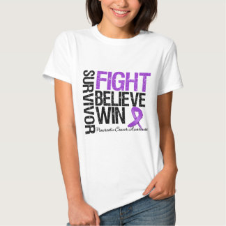 Pancreatic Cancer Survivor Fight Believe Win Motto Tee Shirts