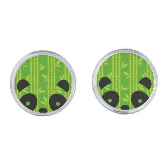 panda_bamboo silver finish cufflinks