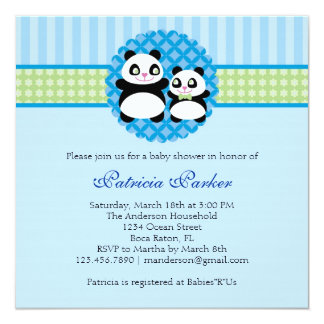 Panda Bear Boy Baby Shower Invitation