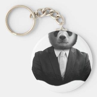 Panda Bear Business Suit Basic Round Button Key Ring