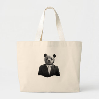 Panda Bear Business Suit Large Tote Bag