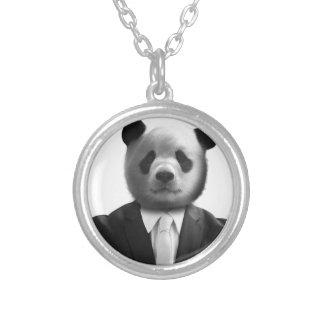 Panda Bear Business Suit Round Pendant Necklace