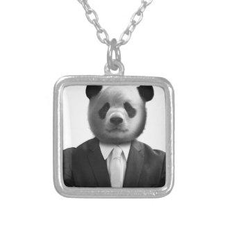 Panda Bear Business Suit Square Pendant Necklace