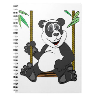 Panda Bear Cartoon Swing Spiral Notebook
