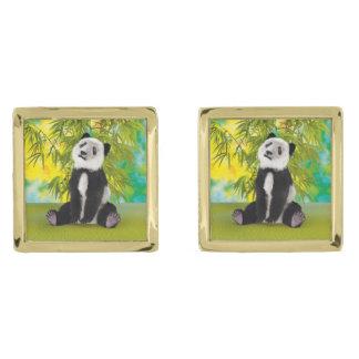 Panda Bear Cub Gold Finish Cuff Links