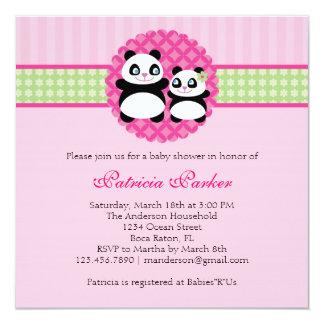 Panda Bear Girl Baby Shower Invitation