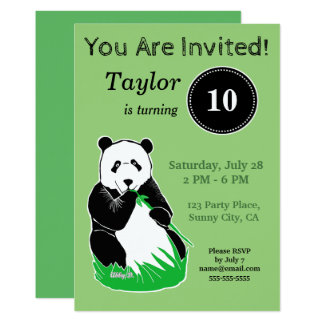 Panda Bear Green Custom Birthday Invitation