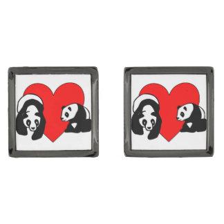 Panda Bear Love Gunmetal Finish Cufflinks
