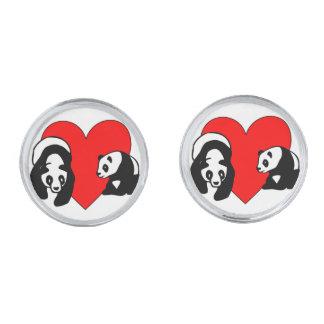 Panda Bear Love Silver Finish Cuff Links