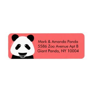 Panda Bear Modern Coral Return Address Label