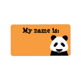 Panda Bear Modern Orange Name Badge Label